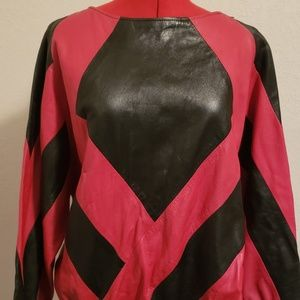 Sweaters - leather color block pullover red black 1980's M